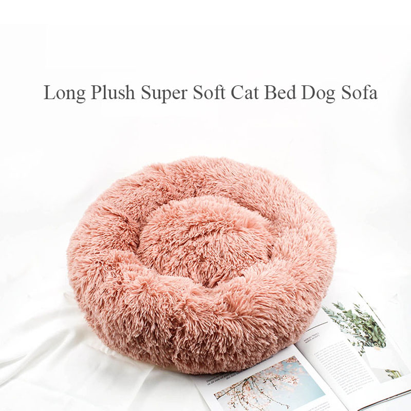 Image 2 - Long Plush Super Soft Cat Bed Kennel Dog Sofa Cat Winter Warm Sleeping Bag Puppy Cushion Mat Portable All Sizes Nest House-in Cat Beds & Mats from Home & Garden