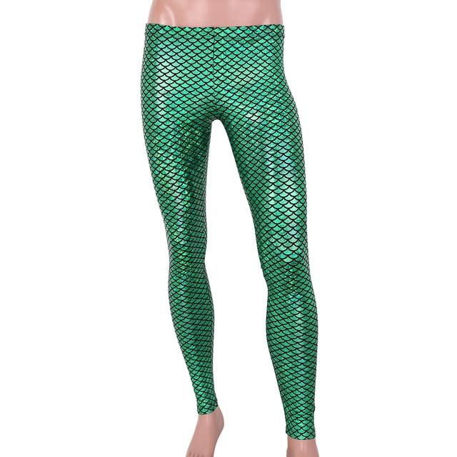 Men Boys Mermaid Scale Skinny Pants Man Shiny Wetlook Breathable Leggings Tights For Theme Party Nightclub Stage Dance Costume 5