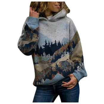 2020 Women's Casual Mountain Print Sweatshirts Thermal Crewneck Long Sleeve Hoodies Loose Black Tracksuit Streetwear clothes 9