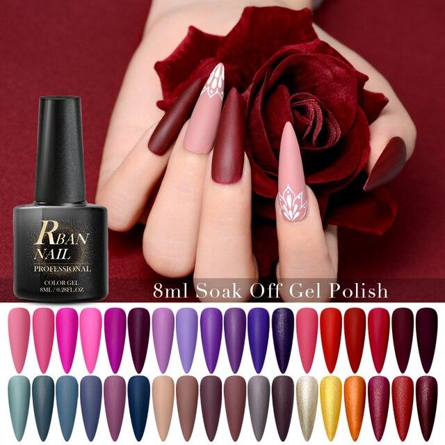 RBAN NAIL 60 Colors Matte UV Gel Nail Polish 8ml Pure Nail Color Need Matte Top Coat Soak Off Nail Art Gel Varnish Manicure 2
