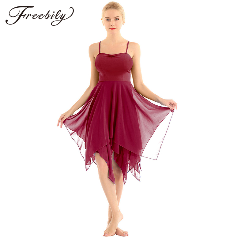Adult Asymmetrical Chiffon Spaghetti Straps Women Modern Ballroom Dancing Dress Ballet Tutu Contemporary Lyrical Dance Costumes
