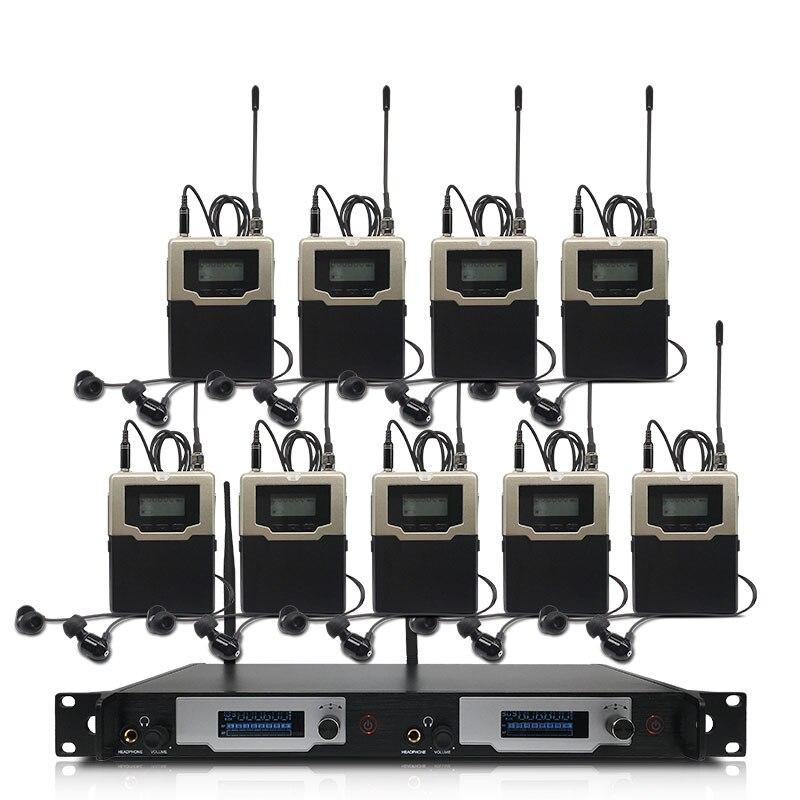 Wireless in-ear monitoring system, professionelle bühne leistung überwachung system mit 9 bodypack sender