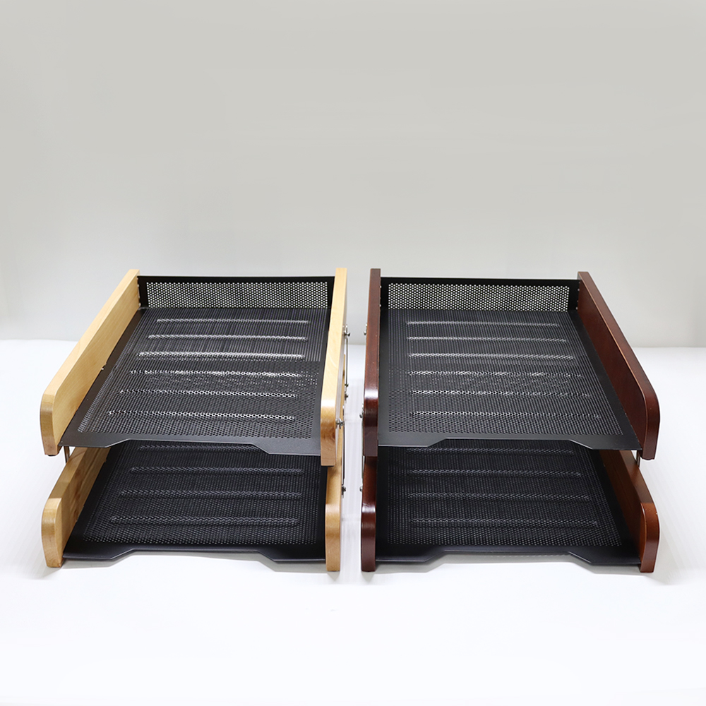 NEW Office Paper Tray Wooden Metal Double Document Trays A4 Paper Office Document File Paper Letter Tray Organiser Holder
