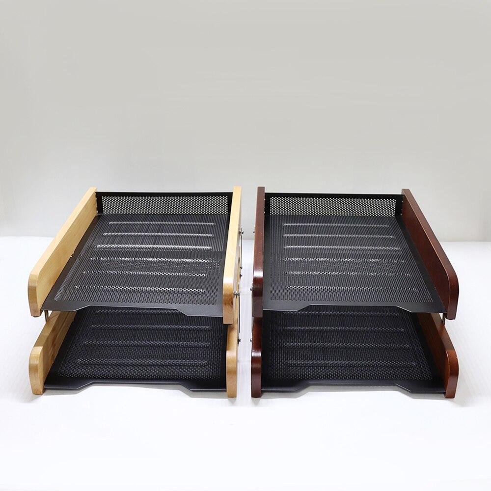 Nouveau bureau papier plateau en bois métal double documents plateaux A4 papier bureau Document fichier papier lettre plateau organisateur titulaire