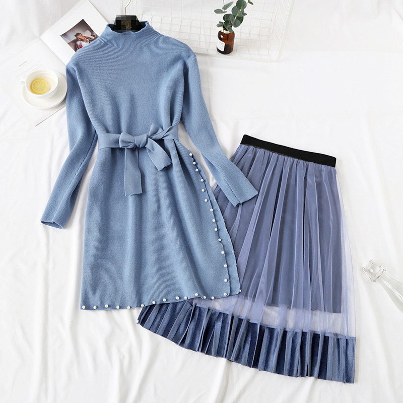 Elegant Stylish Half Turtleneck Long Sweater Dress + Pleated Velvet Skirt 2pcs Women Beaded Sashes Kitted Top and Mesh Skirt Set 33