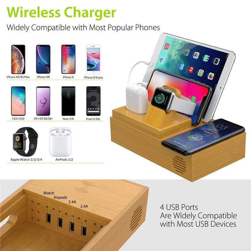 Bamboo 4 USB Ports Charging Dock Station Desktop Mobile Phone Stand Holder Wireless Charger For Apple IPhone For Apple Watch