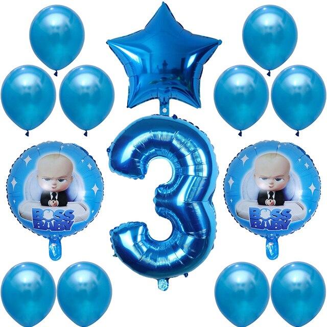 Ballon bébé Boss 14 pièces 30 pouces | Ballons numériques à hélium en aluminium, décoration réception-cadeau pour bébé 1er anniversaire, ballons à Air en Latex