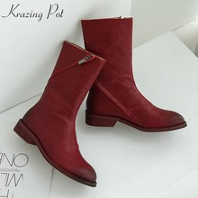 krazing pot full grain leather superstar Chelsea boots streetwear pleated skin round toe European low heels mid-calf boots L07(China)