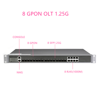 8 PON 8SFP 1.25G GPON PORT GPON OLT with 1:128 MAX Splitting Ratio 8 PON PORT GPON OLT FOR FTTH 1000BASE-C+/C++ GPON(2.5G)+1.25G