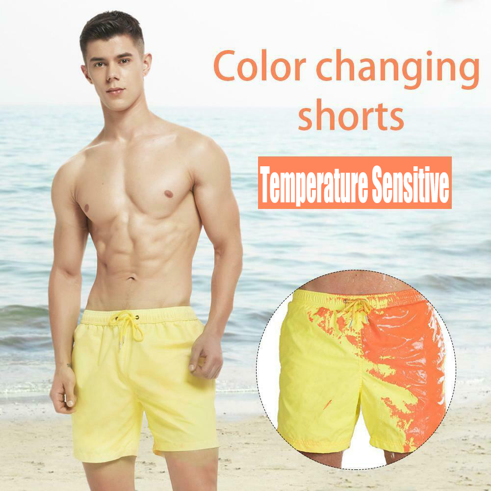 Magical Change Color Beach Shorts Summer Men Swim Trunks Swimwear Swimsuit Portable Fashion Color Changing Shorts Swimming Cloth image
