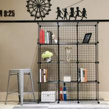 Metal Storage Bookcase Bookshelf Toy rack Industrial Decoration DIY  Shelf Organizer Home furniture Wire Standing StorageWardroe