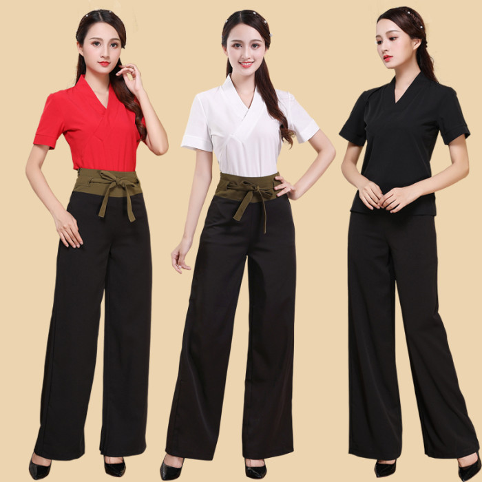 Nursing Beautician Work Clothes Beauty Spa Tunic Suit Fashion Uniforms Deep Cross V Neck Top And Broad-legged Pants For Women