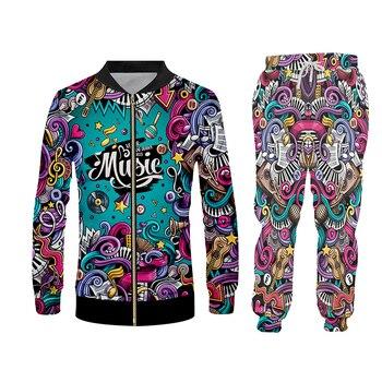 UJWI 3D Print Men 2 piece set Music Note instrument Party Hip Hop jogger Tracksuit Jacket Sweatsuit Sweatshirt Hoodies sports 4