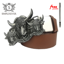 Western Cowboy Bull Belt Buckle Rodeo Oval Silver Men's with Leather Drop Shipping