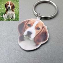 Персонализированный брелок для собак гравировка красочных животных
