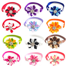 30/50pcs Small Dog Shiny Crystal Flower Bowties Pet Products Collar Cat Puppy Pet Bowties Neckties Dog Grooming Accessories