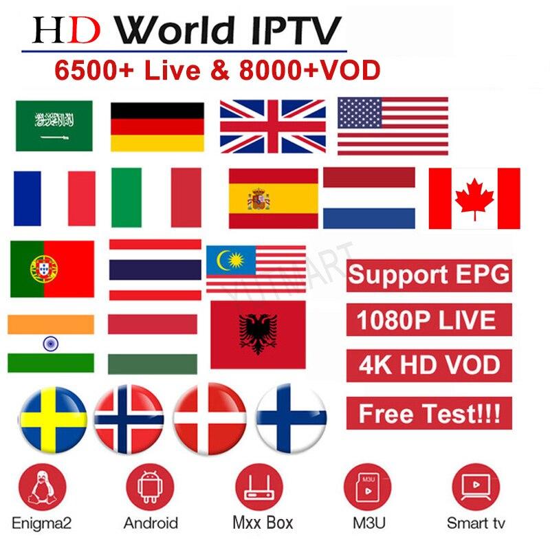 Europe IPTV Subscription France UK German Arabic Dutch Sweden French Poland Portugal Smart TV IPTV M3U 6500+ Live 8000 VOD