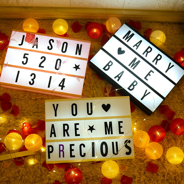 LED Combination Light Box Night Table Desk Lamp A4  A5 A6 DC 5V DIY Letters Symbol Cards Decor USB/Battery Powered Message Board