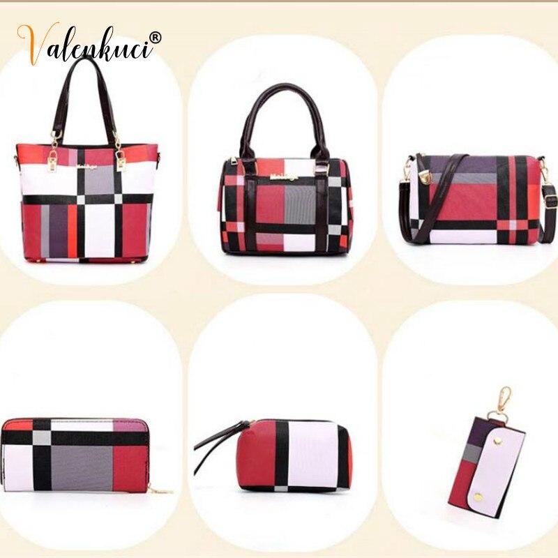 New Fashion Luxury Handbags New 6 PCS Set Women Plaid Colors Handbag Female Shoulder Bag Travel Shopping Ladies Crossbody Bag 6