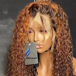 Image 4 - Alicrown 360 Lace Front Krullend Menselijk Haar Pruiken Voor Vrouwen Braziliaanse Haar Gebleekte Knopen Non Remy Gekleurde Haar 250% dichtheid