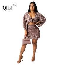 Qili сексуальное Бандажное платье для женщин с рукавом фонариком