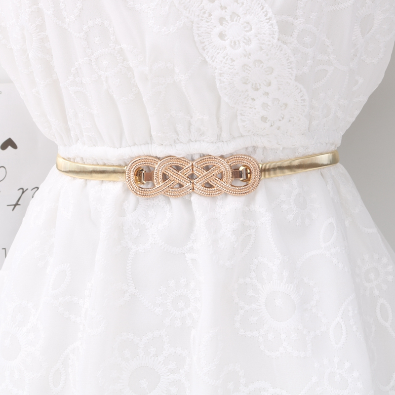 H80525ef5885542aaab5e365a5a37e383V - Metal Belts for Women Designer Brand Women Skinny Bow knot Belt Female Gold Silver Color Waist Chain Elastic Thin Cummerbunds