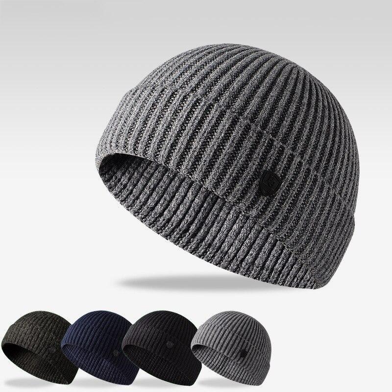 Новое поступление, мужская осенне-зимняя однотонная вязаная простая уличная теплая шерстяная шапка с застежкой, Мужская Спортивная повсед...