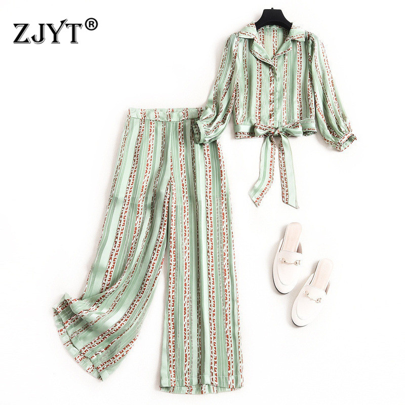 2020 New Spring Women Pants 2piece Set Fashion Designers Striped Crop Top And Pants Suit Matching Set Casual Twinset