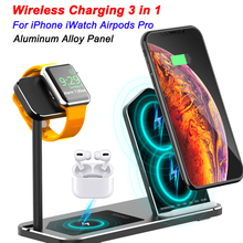 For iPhone Wireless Charger 3 in 1 Aluminum Alloy Stand For Apple Watch iWatch 1 2 3 4 5 Airpods Pro Wireless Charging Dock