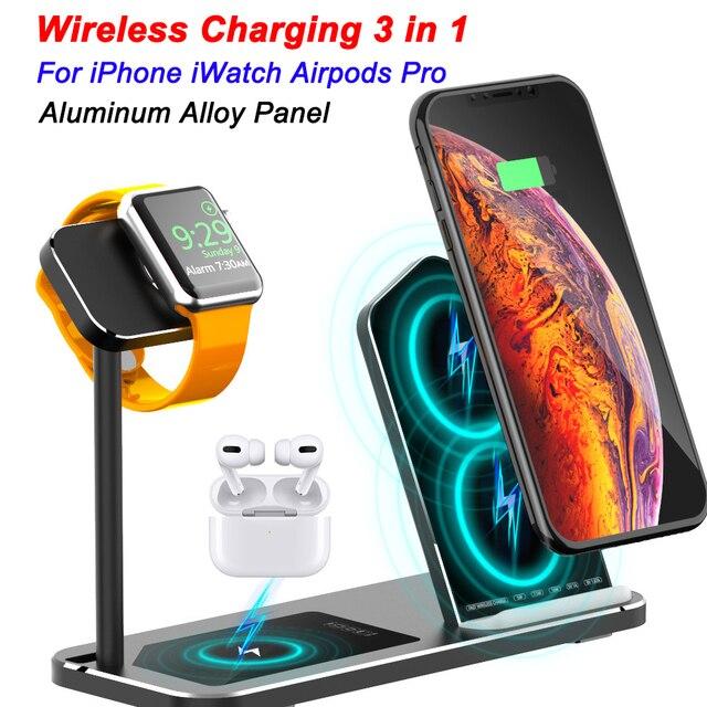 Iphone ワイヤレス充電器 3 1 でアルミ合金アップル時計 iwatch 1 2 3 4 5 airpods プロワイヤレス充電ドック