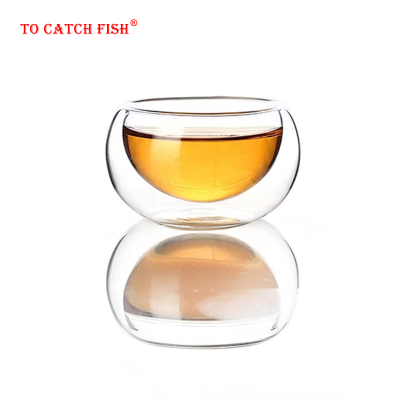 4 Pcs Creative Heat Resistant Double Wall Glass Cup,High Quality Fashion Cups For Tea Coffee Juice Drinkware,Kungfu TeaCup