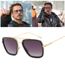 Tony Stark Sunglasses Men Avengers Iron Man Square Retro Gradient Spider Edith Glasses Robert Downey Jr Goggles