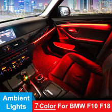 Samochód EL neonowy pasek światła oświetlenie ambientowe samochodu kontrola dźwięku światła RGB dekoracyjne LED Auto lampa atmosfera dla BMW F10 F18 2010-2017