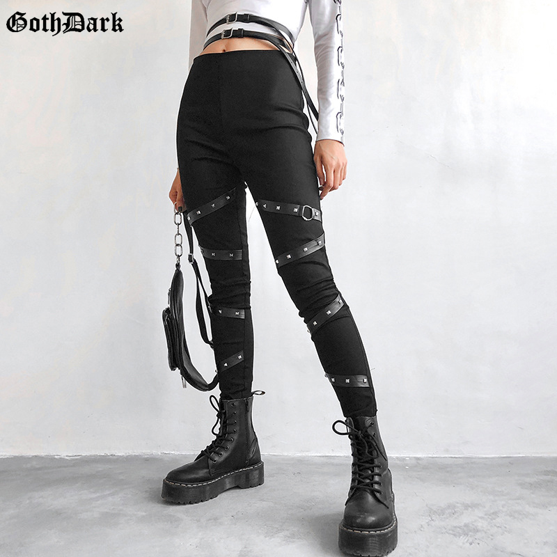 Goth Dark Pencil Pants Women Fashion Eyelet Pu Strap Patchwork Trousers High Waist Skinny Streetwear Cool Chic Female 2019 Pants