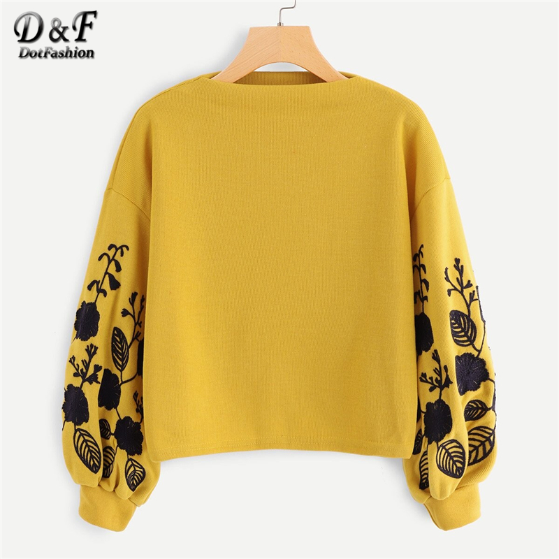 Dotfashion Pink Bishop Sleeve Floral Drop Shoulder Embroidery Crop Pullover Women Casual Autumn Cowl Neck Clothing Sweatshirt