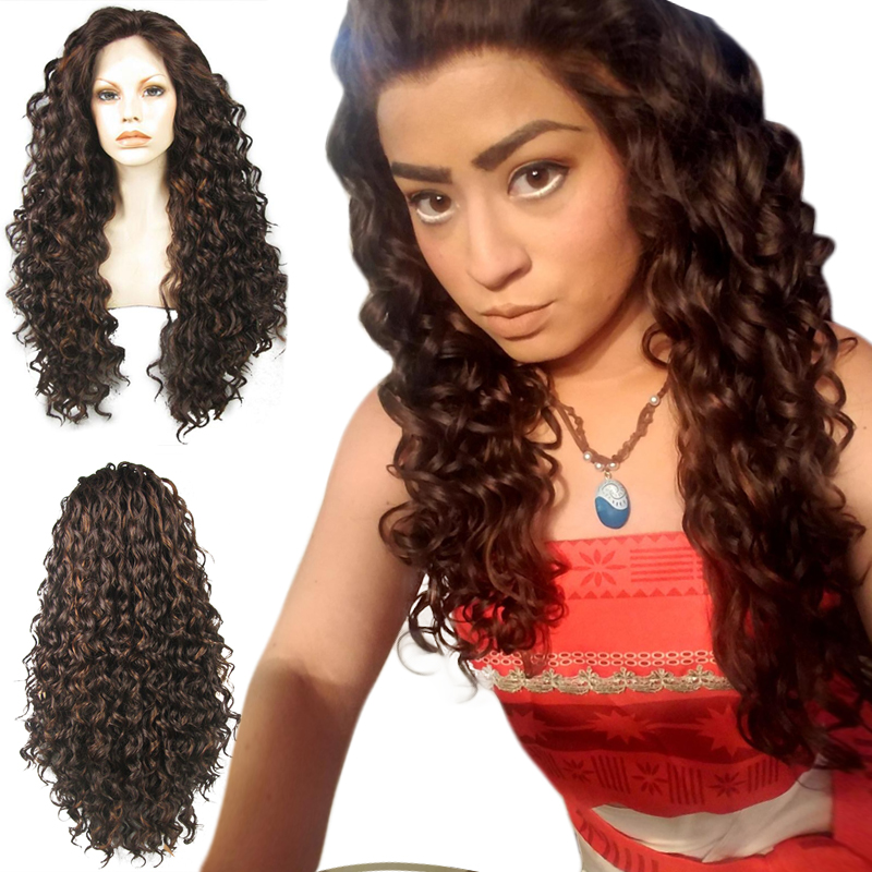 Anogol High Temperature Fiber Peruca Afro Wigs Long Kinky Curly Dark Brown Synthetic Lace Front Wig For African American Women