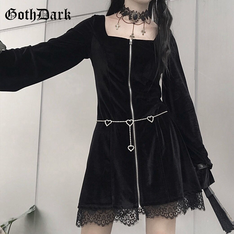 US $17.89 40% OFF Goth Dark Vintage Aesthetic Gothic Dresses Women Harajuku  Plus Size Zipper Autumn 2019 Winter Female Dress Pathcwork Grunge Punk on  ...