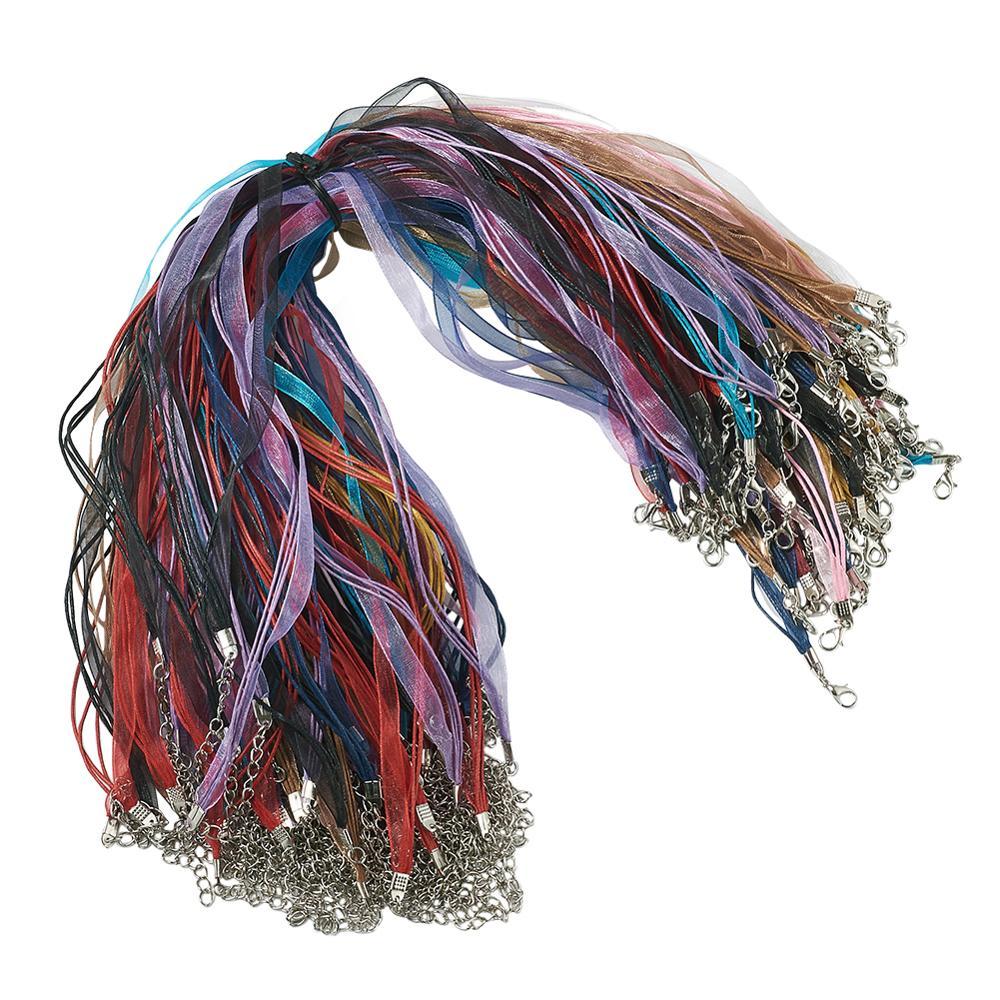 10pcs organza Chaîne Ruban Waxed Cord Collier Homard Fermoir Chain Finding À faire soi-même