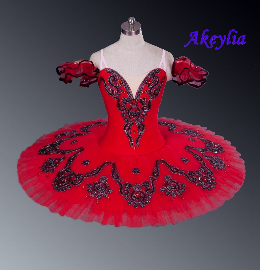 Professional Tutu Red Don Quxote Burgundy Girls Nutracker Pancake Tutu Ballet stage Costume For Dancers Competition EsmeraldaBallet   -