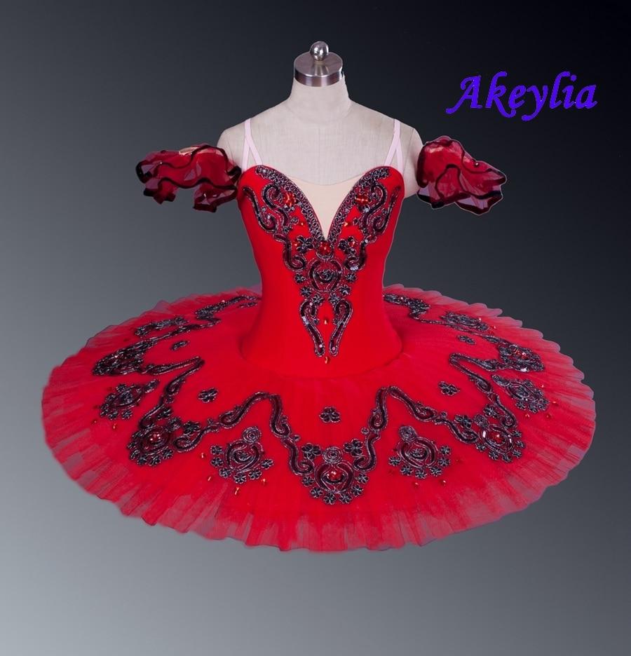 Professional Tutu Red Don Quxote Burgundy Girls Nutracker Pancake Tutu Ballet Stage Costume For Dancers Competition Esmeralda