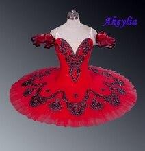 Professionele Tutu Rood Don Quxote Bourgondië Meisjes Nutracker Pannenkoek Tutu Ballet Stadium Kostuum Voor Dansers Concurrentie Esmeralda