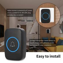 Home Wireless Doorbell Music LED Outdoor Transmitter Indoor Receiver 300m Remote Control  EU Plug