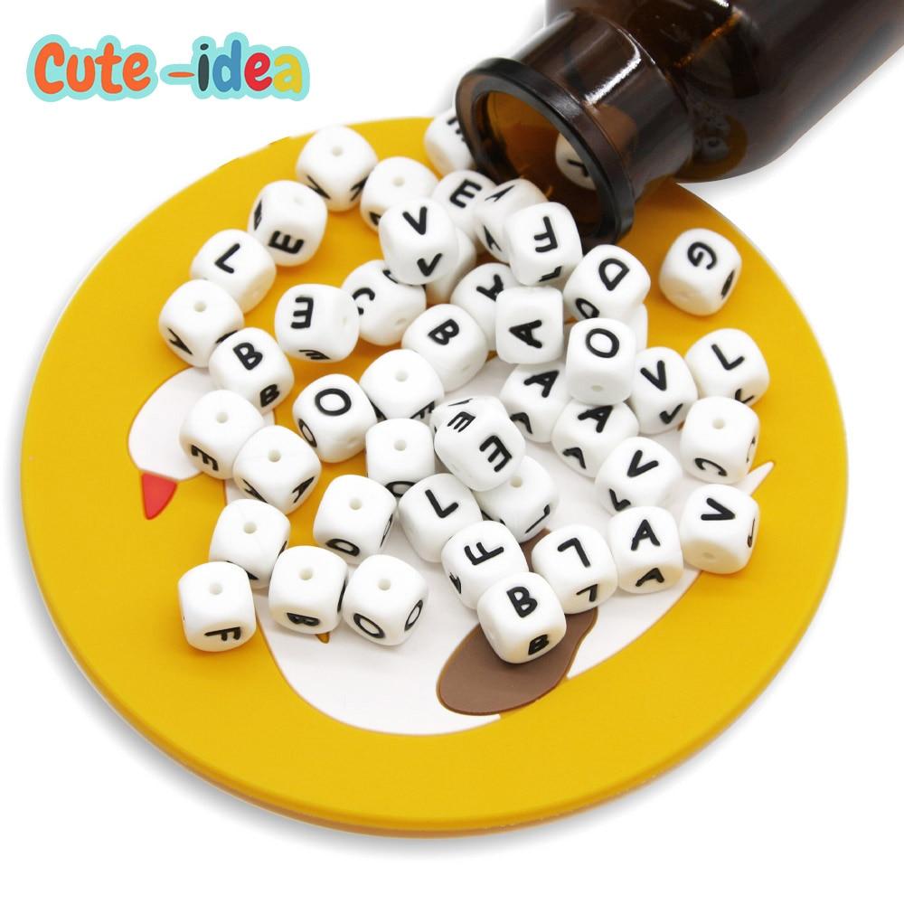 Милый-идея 20 штук Еда силикона буквы Бусы детские английские буквы алфавита Прорезыватели для зубов DIY Подвеска для соска для грудничков из ...