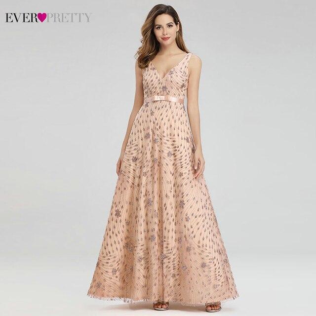 エレガントなローズゴールドのイブニングドレス以来プリティEP00802RG aラインv sahsesスパークルパーティーガウンローブド · ソワレ