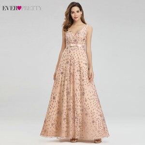 Image 1 - Elegant Rose Gold Evening Dresses For Women Ever Pretty EP00802RG A Line V Neck Bow Sahses Sparkle Party Gowns Robe De Soiree