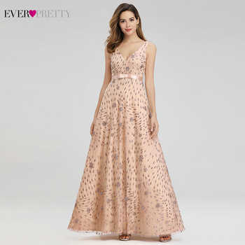 Elegant Rose Gold Evening Dresses For Women Ever Pretty EP00802RG A-Line V-Neck Bow Sahses Sparkle Party Gowns Robe De Soiree - DISCOUNT ITEM  40% OFF All Category