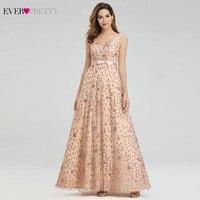 Elegant Rose Gold Evening Dresses For Women Ever Pretty EP00802RG A Line V Neck Bow Sahses Sparkle Party Gowns Robe De Soiree