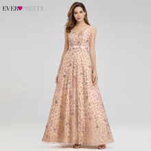 Vestidos De Noche elegantes De oro rosa para mujer, siempre bonitos, EP00802RG, línea A, cuello en V, arco, Sahses, vestidos De fiesta brillantes, bata De noche