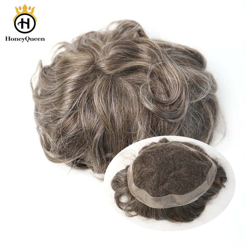Hair Toupee Men Lace With Poly Around Natural Looking 100% European Human Hair Toupee Replacement System 440# Color Remy