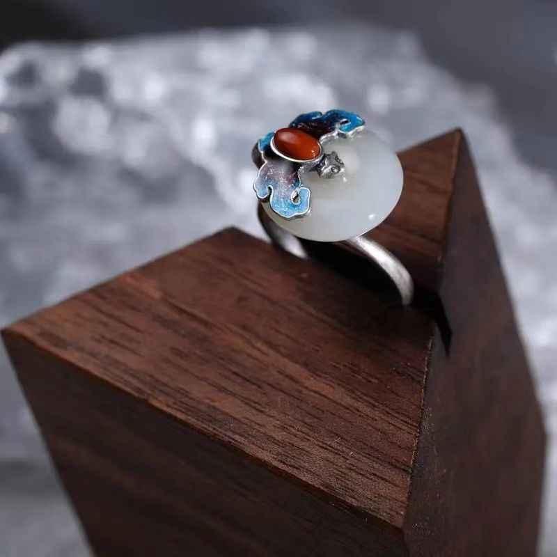 Винтажное кольцо из стерлингового серебра S925 пробы с синим сгоревшим синим нишевым китайским стилем в национальном стиле, в стиле запрещенного города, открытое из натурального нефрита